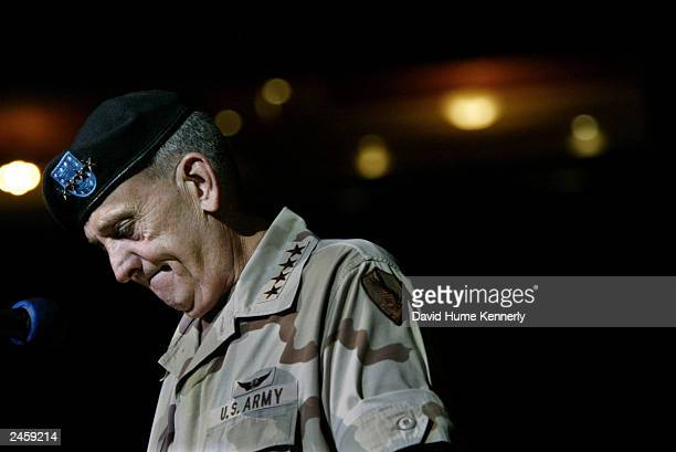 Retiring Commander of CENTCOM General Tommy Franks shows emotion during his changeofcommand ceremony July 7 2003 in Tampa FL Franks is being replaced...