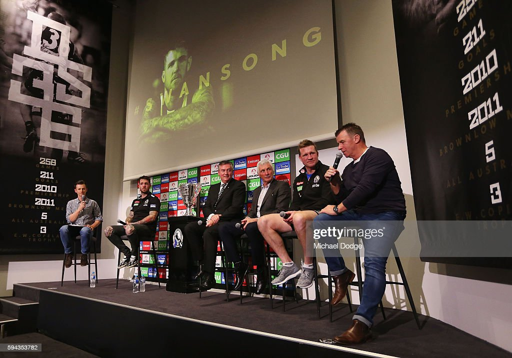 Retiring Dane Swan of the Magpies sits on a panel with Magpies President Eddie Maguire, former head coach Mick Malthouse, current head coach Nathan Buckley and his dad Billy Swan during a Collingwood Magpies AFL media session at the Holden Centre on August 23, 2016 in Melbourne, Australia.