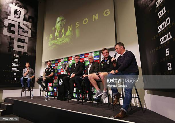 Retiring Dane Swan of the Magpies sits on a panel with Magpies President Eddie Maguire former head coach Mick Malthouse current head coach Nathan...