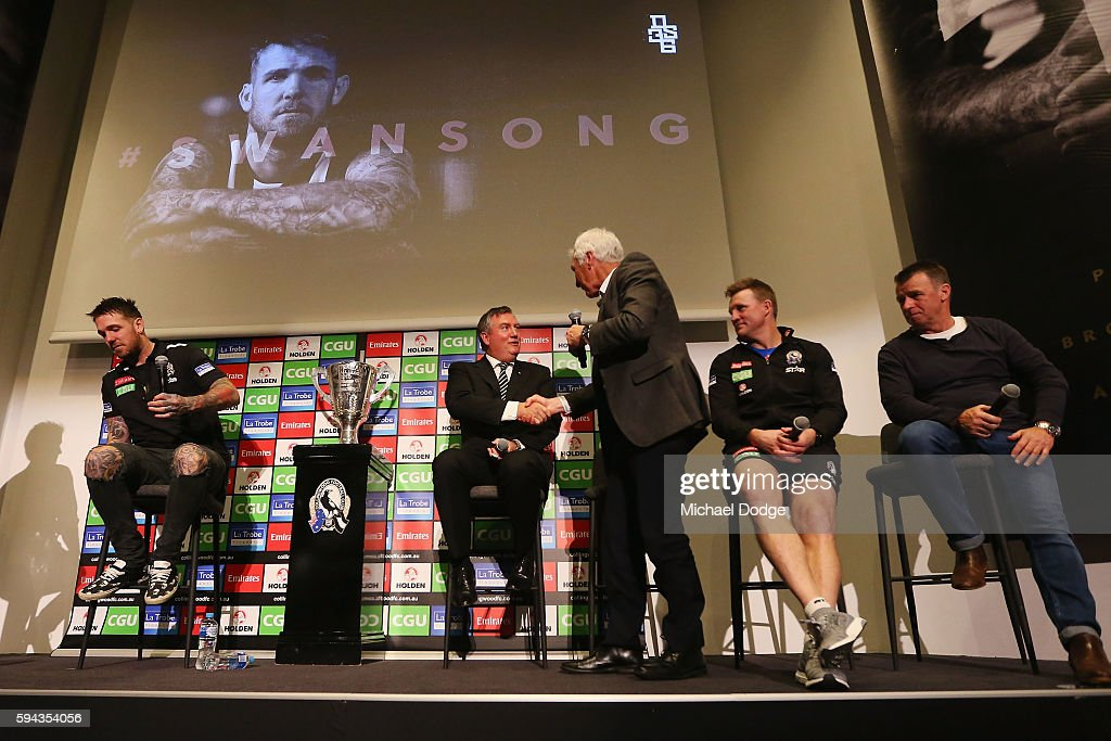 Retiring Dane Swan of the Magpies sits on a panel with Magpies President Eddie Maguire, head coach Nathan Buckley and his dad Billy Swan during a Collingwood Magpies AFL media session at the Holden Centre on August 23, 2016 in Melbourne, Australia.