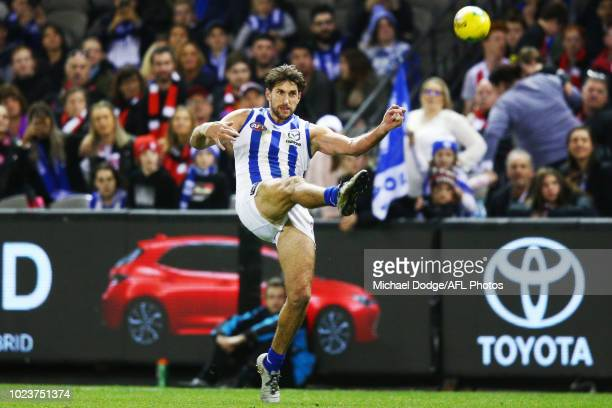 Retiring Jarrad Waite of the Kangaroos kicks for goal but misses after the final siren during the round 23 AFL match between the St Kilda Saints and...