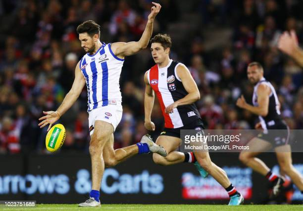 Retiring Jarrad Waite of the Kangaroos kicks the ball during the round 23 AFL match between the St Kilda Saints and the North Melbourne Kangaroos at...