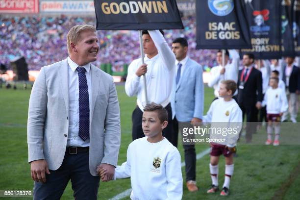 Retiring NRL player Ben Hannant thanks the crowd before the 2017 NRL Grand Final match between the Melbourne Storm and the North Queensland Cowboys...