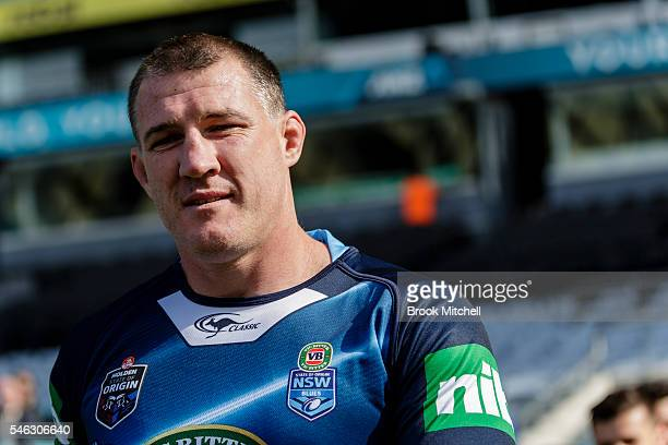 Retiring NSW captain Paul Gallen is seen during the New South Wales Blues State of Origin captain's run at ANZ Stadium on July 12 2016 in Sydney...