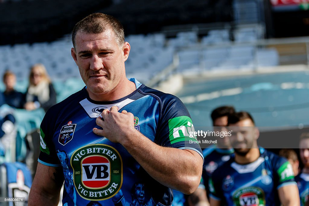 Retiring NSW captain Paul Gallen is seen during the New South Wales Blues State of Origin captain's run at ANZ Stadium on July 12, 2016 in Sydney, Australia.
