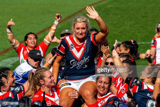 Retiring Roosters player Ruan Sims is chaired off after the NRLW match between the St George Illawarra Dragons and the Sydney Roosters at Leichhardt...