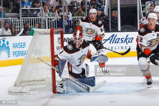 Reto Berra of the Anaheim Ducks defends the net against the San Jose Sharks at SAP Center on September 19 2017 in San Jose California