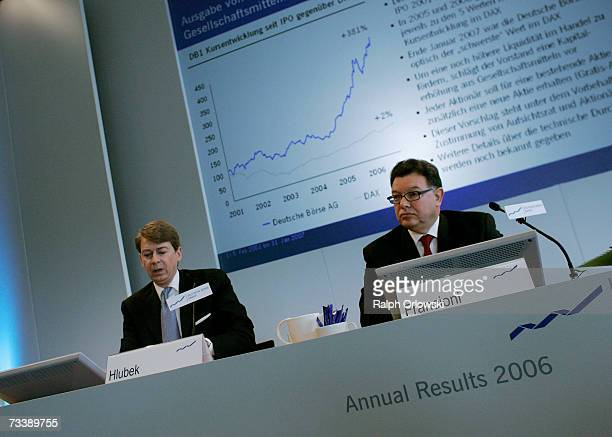 Reto Francioni CEO of Deutsche Boerse Group AG and Mathias Hlubek CFO of Deutsche Borse announce the 2006 results February 22 2007 in Frankfurt...