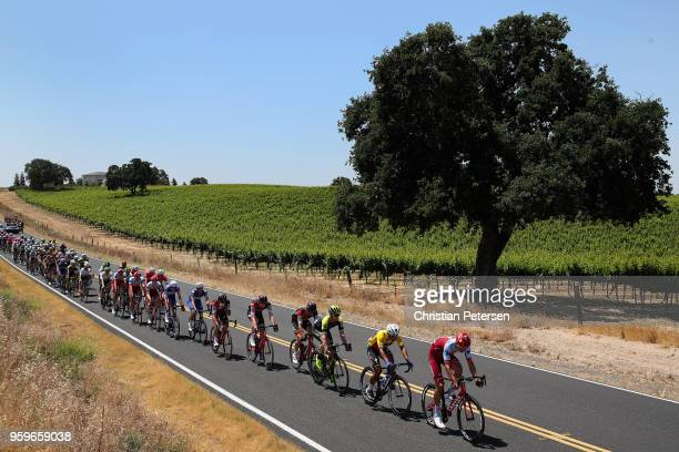 Reto Hollenstein of Switzerland riding for Team Katusha Alpecin leads the peloton during stage five of the 13th Amgen Tour of California, a 176km...