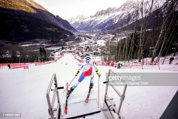 Reto Schmidiger of Switzerland at the start during the Audi FIS Alpine Ski World Cup Men's Parallel Giant Slalom on February 9, 2020 in Chamonix...