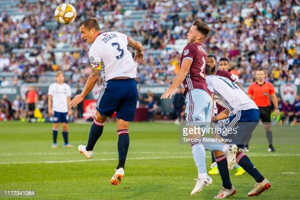 Reto Ziegler of FC Dallas reaches for the ball against the Colorado Rapids during the first half at Dick's Sporting Goods Park on September 29 2019...