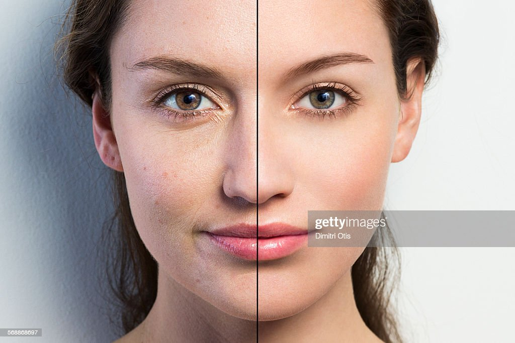 Retouched face vs natural face close-up : Stock Photo