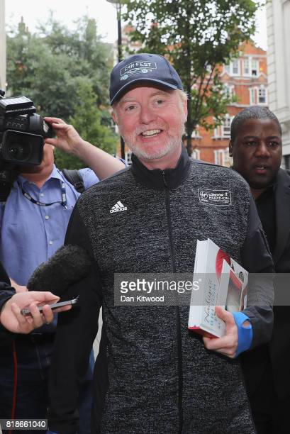 Retransmission of with alternate crop Chris Evans leaves BBC Wogan House after presenting his Radio 2 Breakfast Show on July 19 2017 in London...