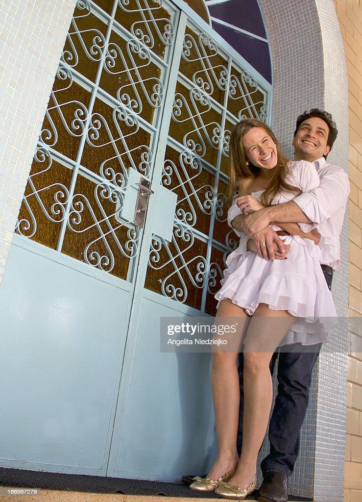 retrato casal sorrindo : Stock-Foto
