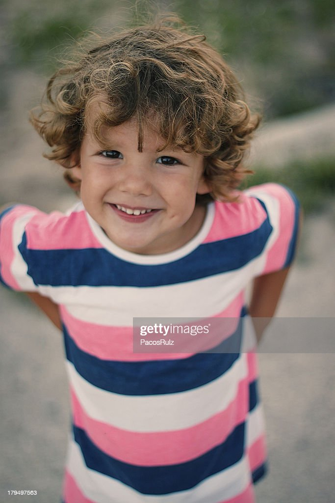 Retrato de cara de niño rubio : Stock-Foto