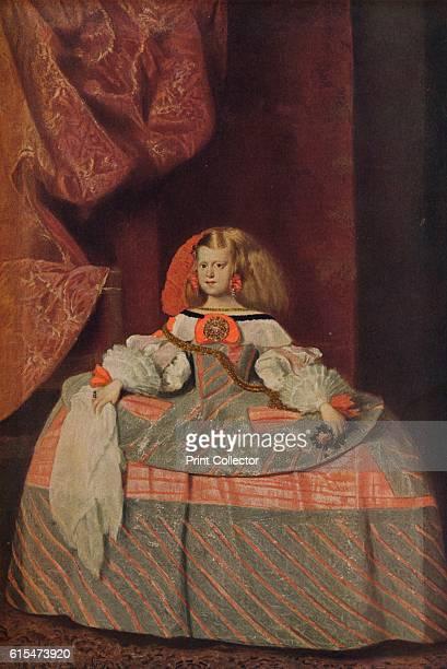 Retrato de la Infanta Dona Margarita', . Portrait of Infanta Margarita Teresa Holy Roman Empress and German Queen, in a pink dress. For political...