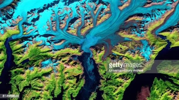 Retreat of Alaska's Columbia Glacier Satellite image shows the state of glacier melting in 2010