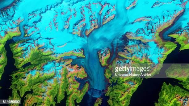 Retreat of Alaska's Columbia Glacier Satellite image shows the state of glacier melting in 1986