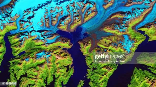 Retreat of Alaska's Columbia Glacier Satellite image shows the state of glacier melting in 2016