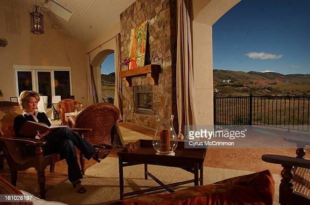 Retreat space of Kirsten Gray in their great room that opens up to a sweeping view of the foothills.