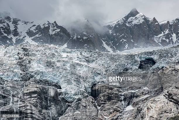 Retreating glacier in the Mount Blanc massif seen from the Val Veny valley, Graian Alps, Italy.