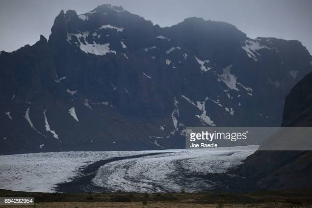 A retreating glacier is seen on June 3 2017 in Skaftafell Iceland Iceland's tourism industry continues to thrive just eight years ago Iceland...