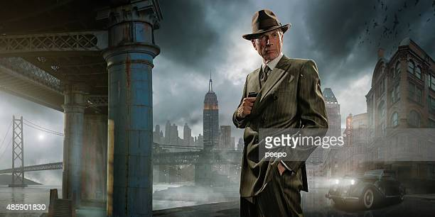 retro 1940's film noir detective or gangster - striped suit stock pictures, royalty-free photos & images