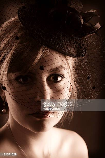 retro 1940s lady - pillbox hat stock photos and pictures