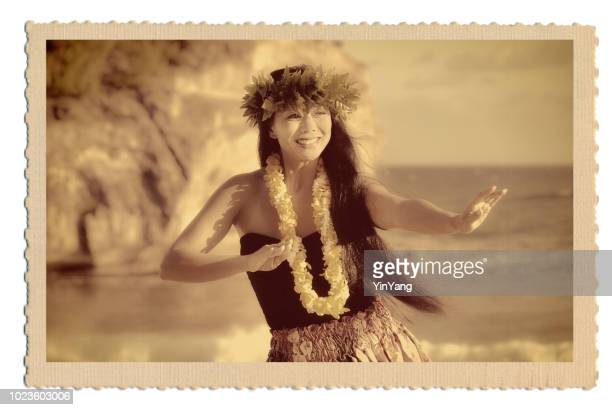 retro 1940s-50s vintage style hawaiian hula dancer postcard old photo - hawaiian lei stock pictures, royalty-free photos & images