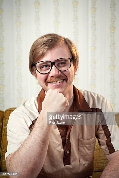 retro 1970's mustache man portrait - hair part stock pictures, royalty-free photos & images