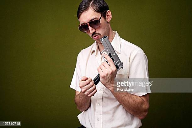 retro 1970's mustache secret agent with pistol - ugly bald man stock pictures, royalty-free photos & images