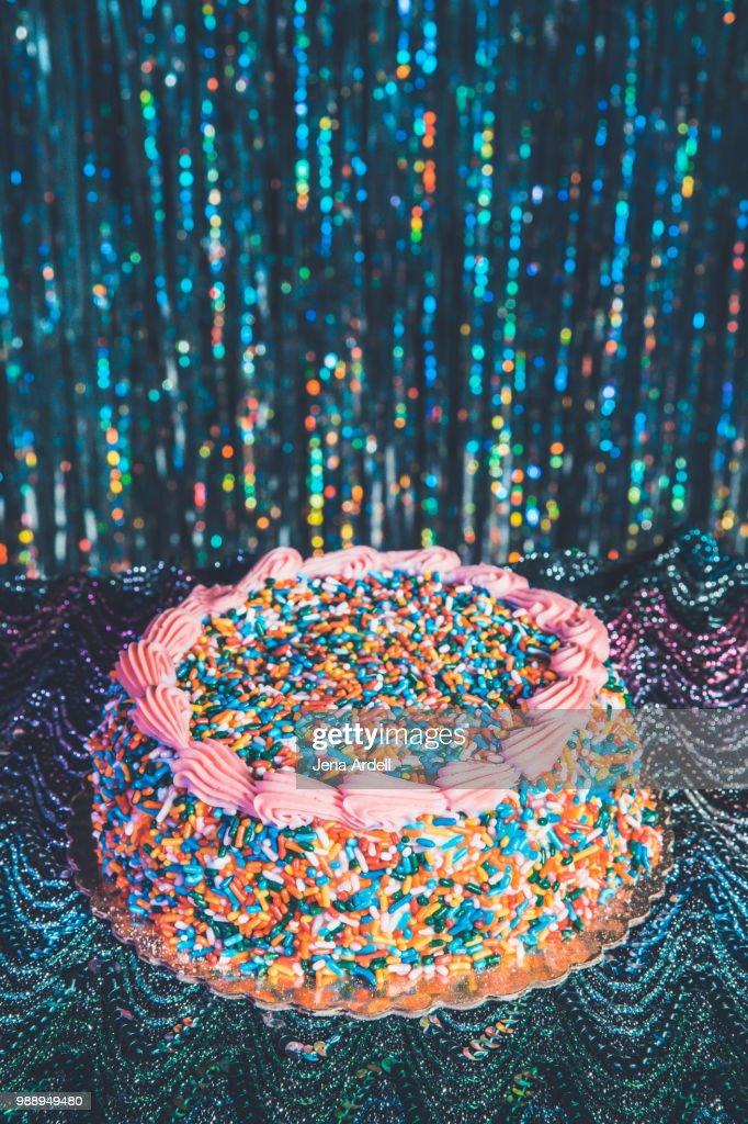Retro 70s Birthday Cake Retro 80s Birthday Cake Silver Tinsel