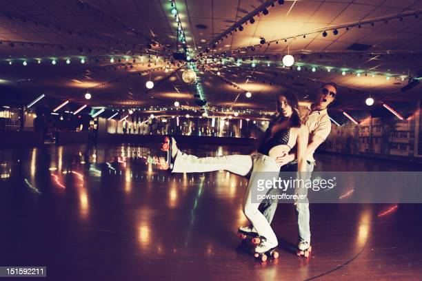 Retro 70's Roller Disco Couple