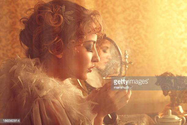 retro beauty drinking coffee in the morning - mirror steam stock photos and pictures
