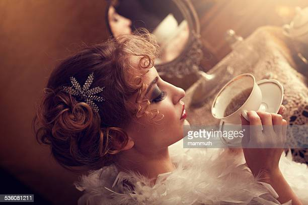 retro beauty drinking tea or coffee in the morning - mirror steam stock photos and pictures