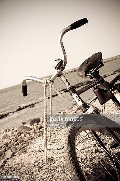 Retro bicycle on a beach, crop