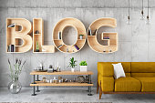 Retro Blog Bulb Sign with Leather Armchair