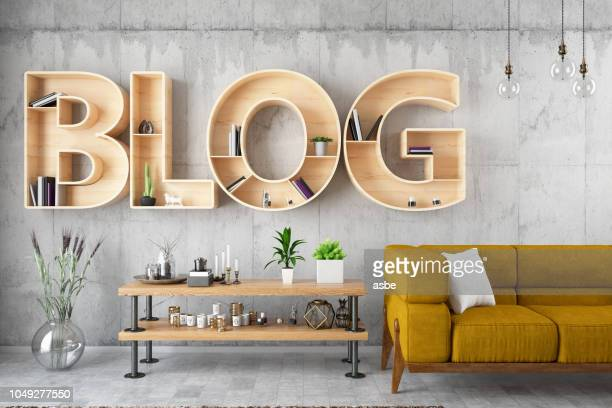 retro blog bulb sign with leather armchair - single word stock pictures, royalty-free photos & images