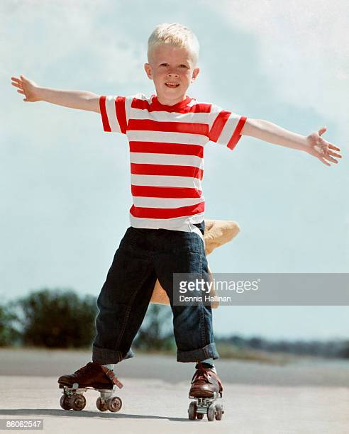 Retro boy roller-skating with pillow tied to back