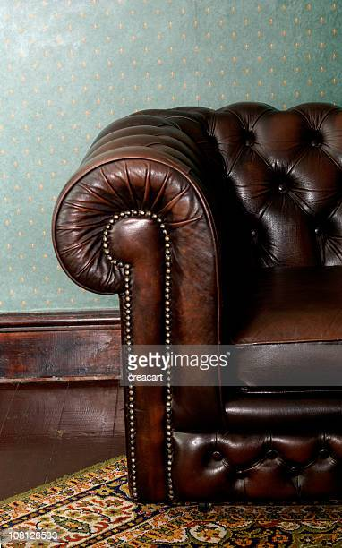 Retro Brown Leather Couch in Vintage Setting