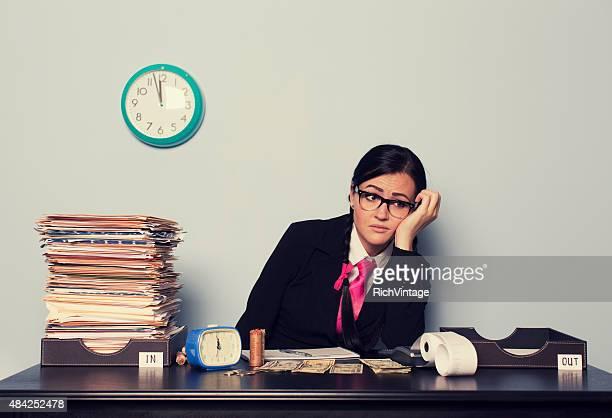 Retro Businesswoman is Past Deadline