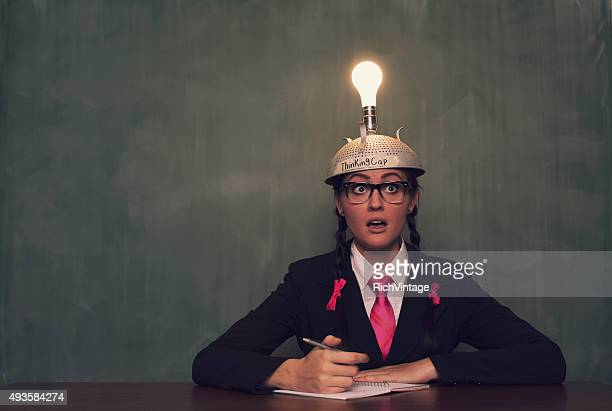 Retro Businesswoman with Thinking Cap is Surprised