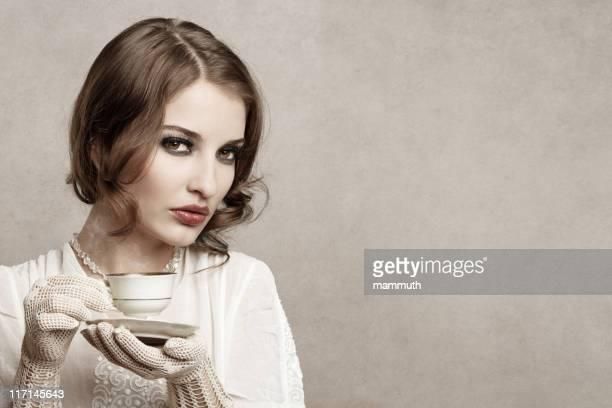 Retro cafe girl