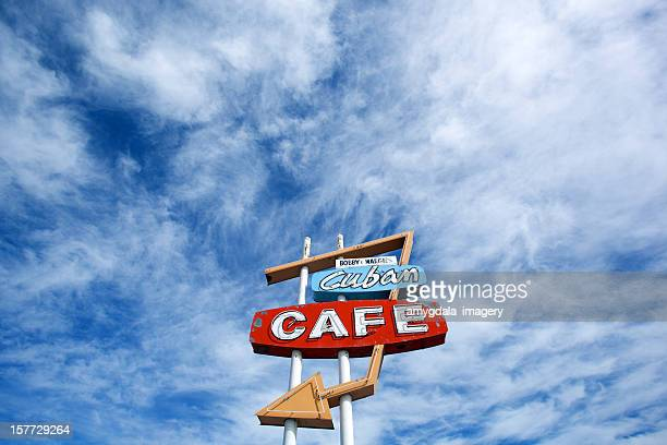 retro cafe sign and sky