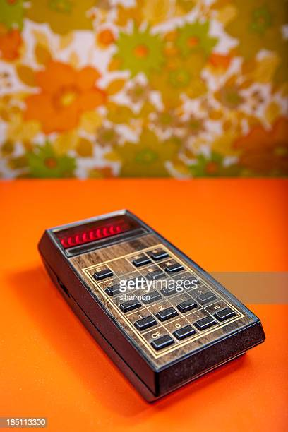 Retro Calculator with Wood Panneling Old Technology