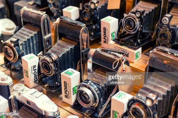 Retro cameras for sale at the Camden Lock market in Camden Town London