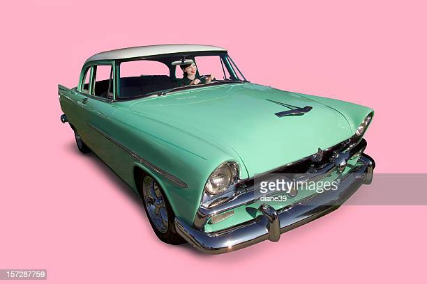 retro car and driver