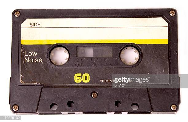 Retro cassette tape with yellow label
