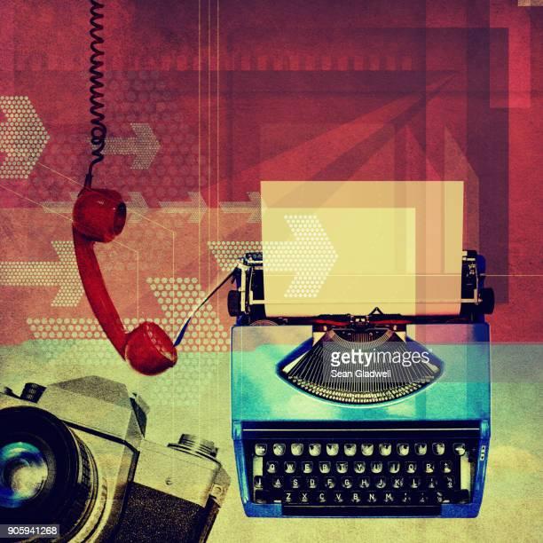 retro collage - タイプライター ストックフォトと画像
