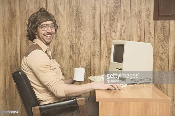 retro computer office nerd at home office - nerd stock pictures, royalty-free photos & images